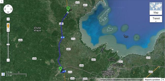 map-surat-airport-to-suanmoke